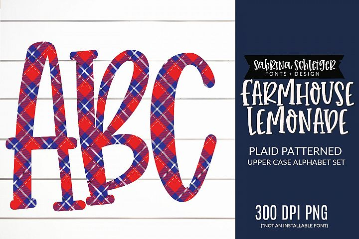 Farmhouse Lemonade PNG Plaid Alphabet Clipart