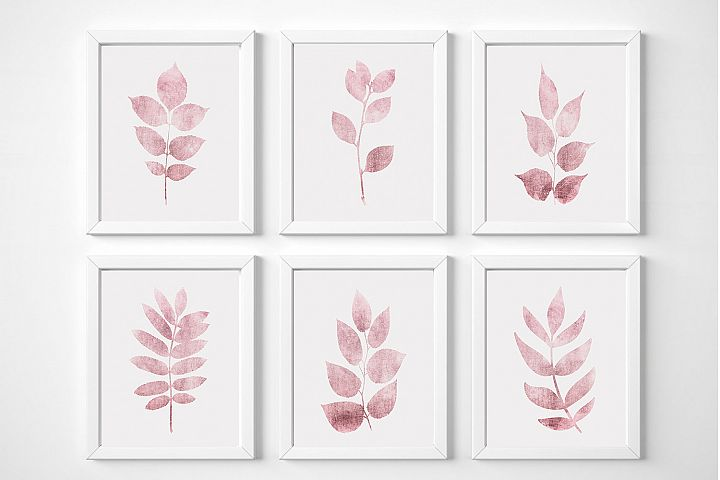 Printable Wall Art Set of 6, Pink Leaf Print