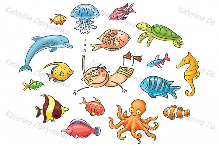 Set of cartoon sea animals & fishes