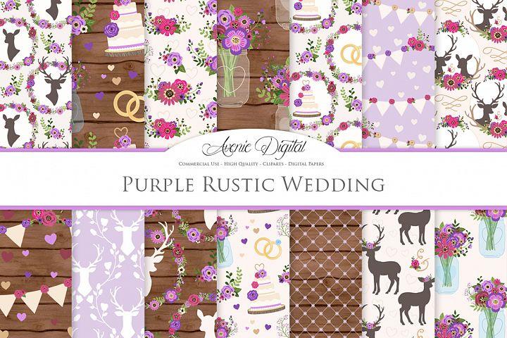 Purple Wedding Digital Paper - Purple Rustic Wedding Deer Seamless Patterns