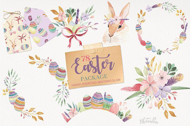 Easter Egg HUGE Bunny Watercolor Floral Spring Clipart Kit