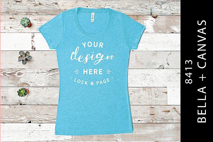 Aqua Bella Canvas 8413 Triblend Feminine T-Shirt Mockup