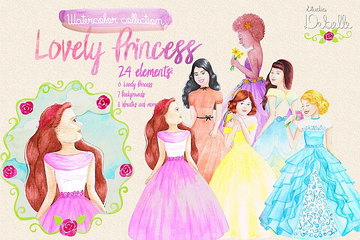 Lovely Princess - watercolor clipart