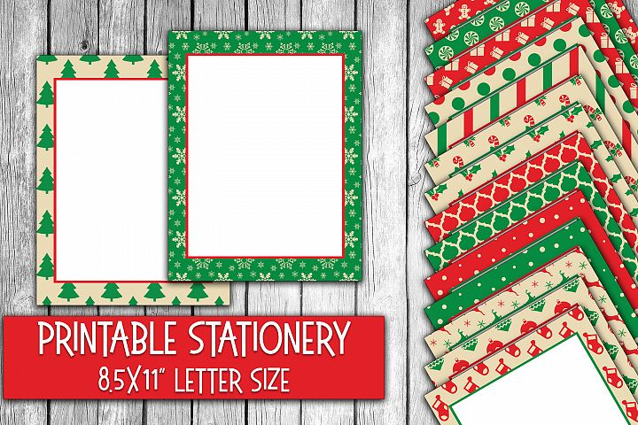 Christmas Stationery - Classic Red and Green Digital Paper