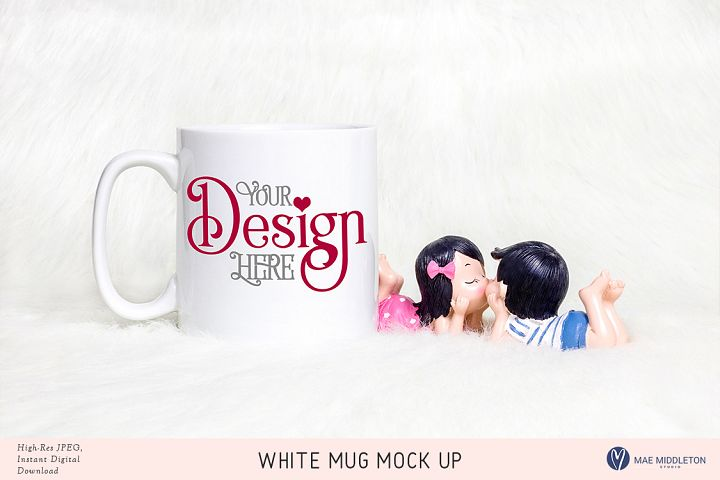 White Mug Mock up for Valentines Day, Lovers stock photo