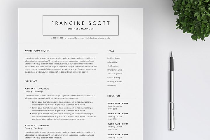 Resume Template and Cover Letter / 4 Pages