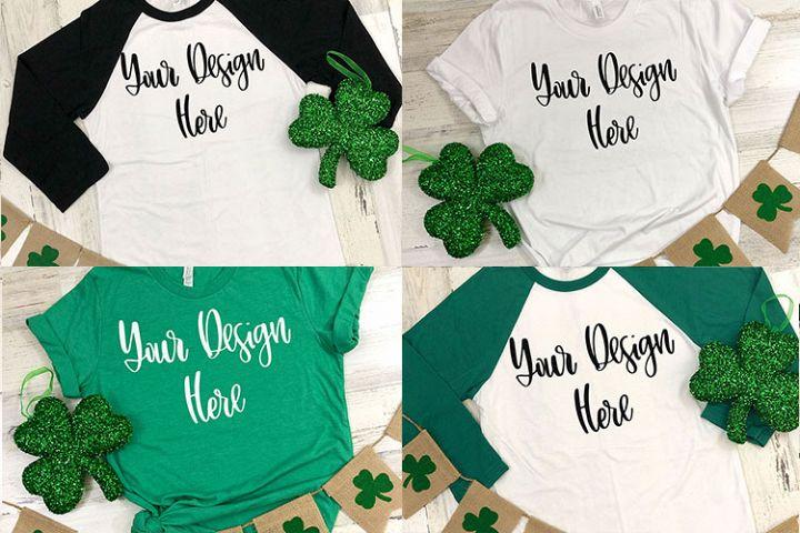 St. Patricks Day Bundle - Bella Raglan & Shirt Mockup Photo