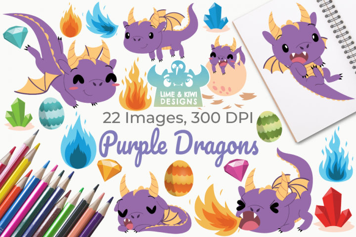 Purple Dragons Clipart, Instant Download Vector Art
