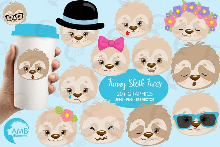 Sleepy Sloths clipart, Emoji sloth, sloth faces graphics, illustrations AMB-2203
