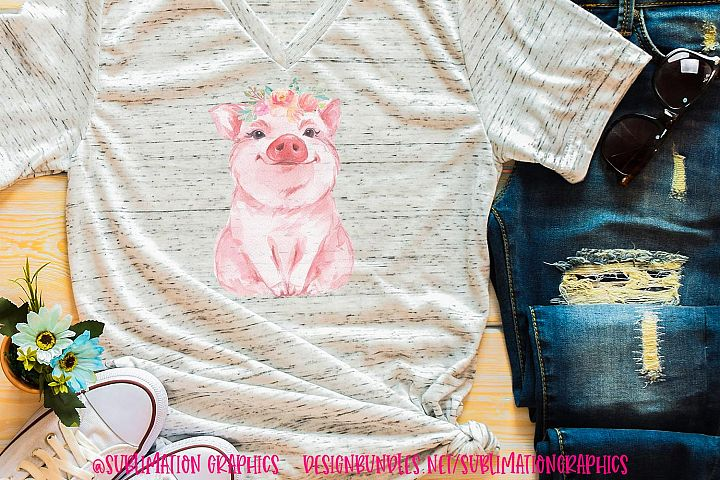 Floral Watercolor Pig Sublimation Digital Download