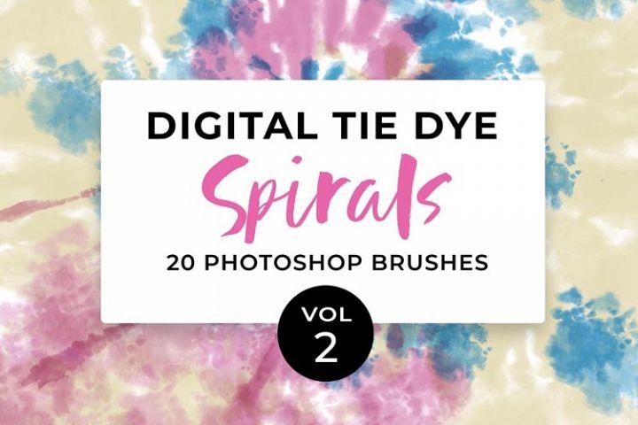 20 Digital Tie-Dye Spirals Photoshop Brushes Vol. 2