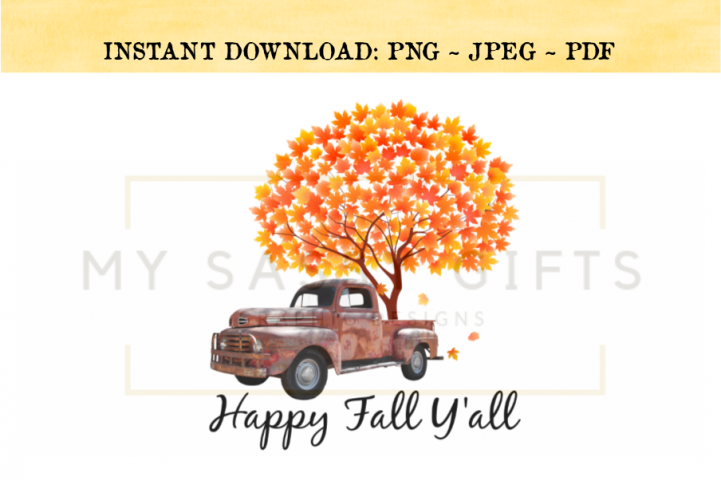 Happy Fall Yall Rustic Red Truck With Autumn Tree PNG
