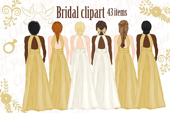Bride and Bridesmaids clipart,Wedding clipart,Bridal clipart