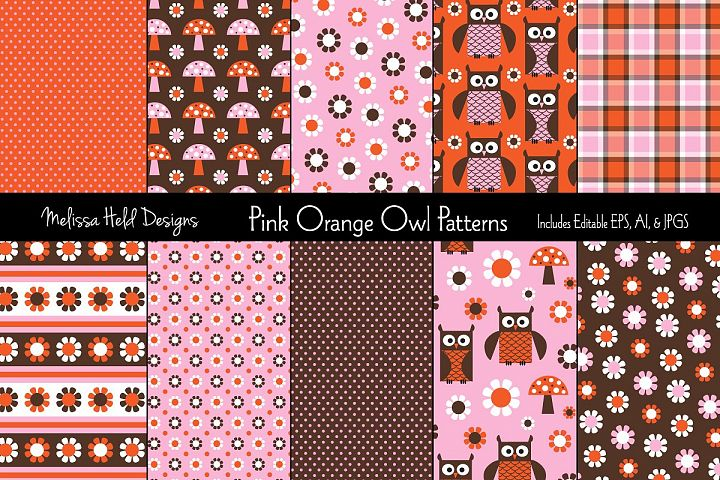Pink & Orange Owl Patterns