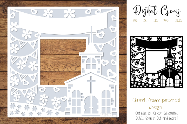 Church frame paper cut design SVG / DXF / EPS / PNG files