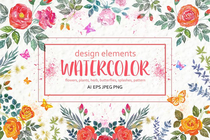 Set of watercolor design elements: rose flowers, plants, butterflies, seamless patterns, splashes.  - Free Design of The Week Font