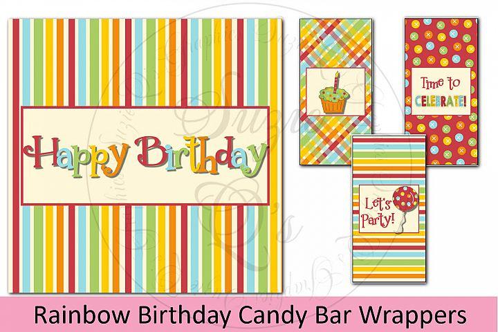 Rainbow Birthday Candy Bar Wrapper Set