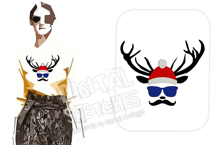 Deer Head Santa Claus Machine Embroidery Design 5 Sizes