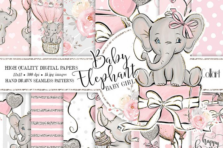 Elephant digital paper, baby girl papers, seamless patterns
