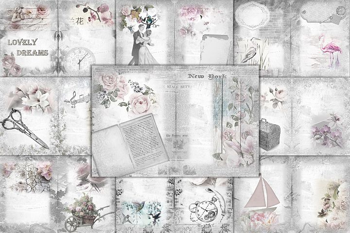 24 Printable Black and White Background Papers FREE Ephemera