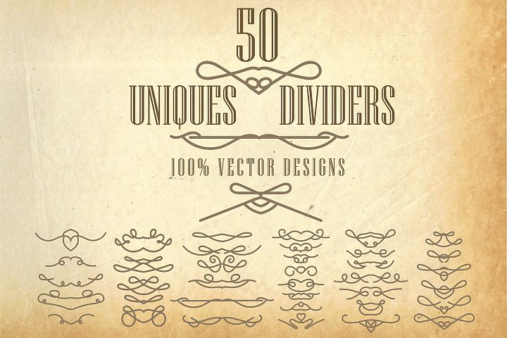 50 Handmade Text Dividers, AI, EPS, PNG, SVG