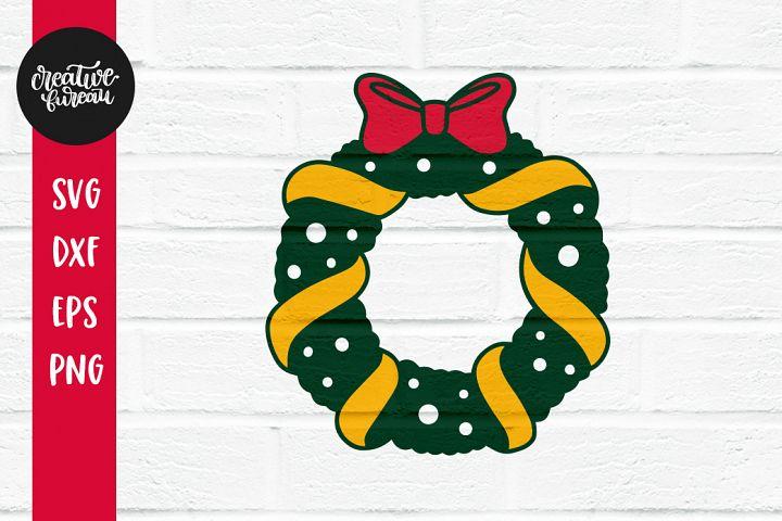 Christmas Monogram Frame Svg, Christmas Wreath Svg Dxf