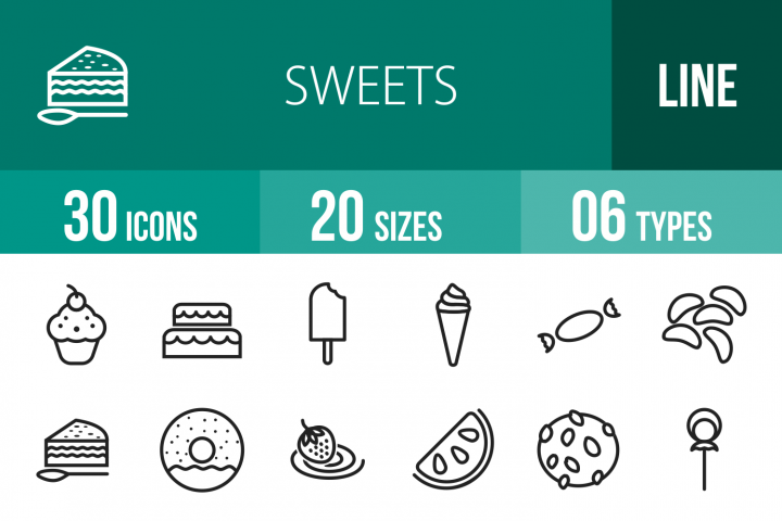 30 Sweets & Confectionery Line Icons