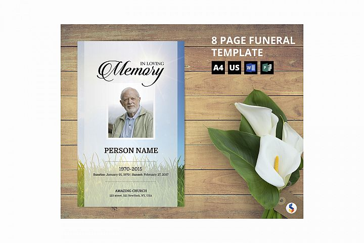 Sky and green Funeral Program Template