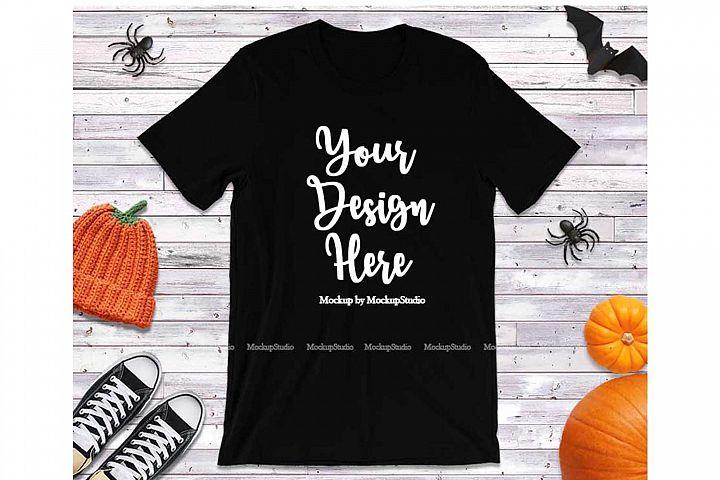 Black Halloween T-Shirt Mock Up, Fall Bella Canvas 3001