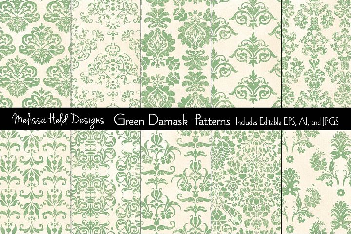 Green Damask Patterns
