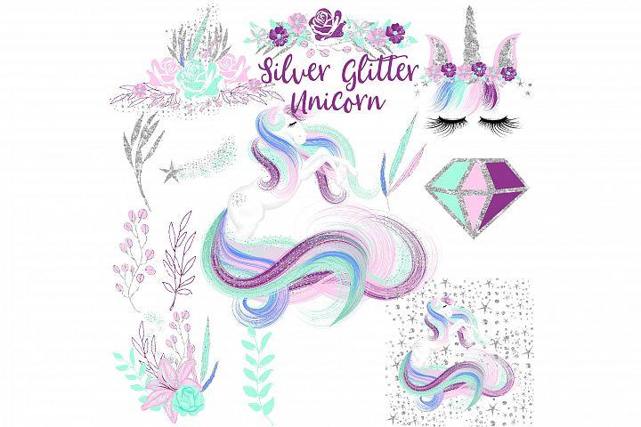 Silver Glitter Unicorn Clipart
