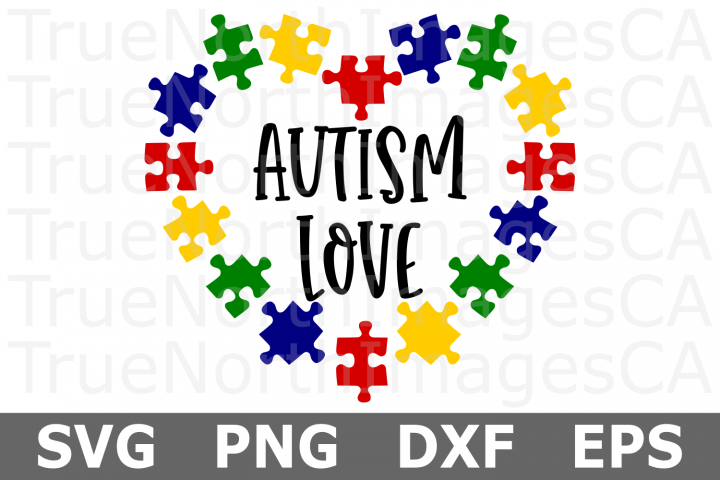 Autism Love Puzzle Heart - An Autism Awareness SVG Cut File