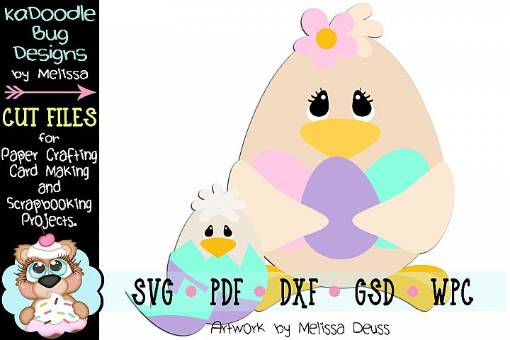 Spring Easter Chicks Cut File - SVG PDF DXF GSD WPC