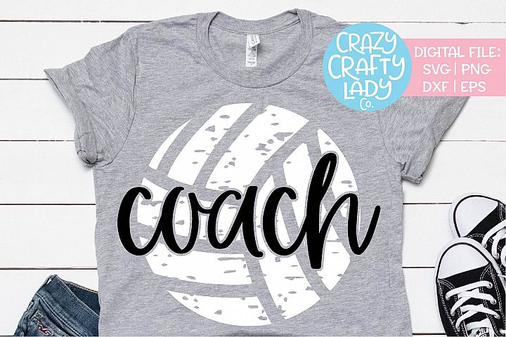 Grunge Volleyball Coach Sports SVG DXF EPS PNG Cut File
