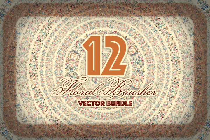 12 Floral Vector Brushes