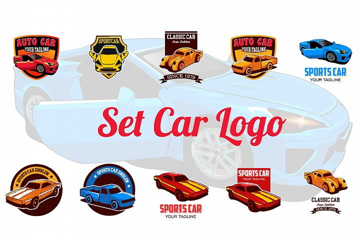 Set Sports Car Logo emblems