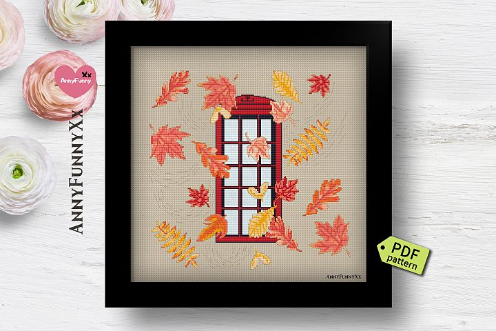England telephone box Cross stitch Pattern Pdf