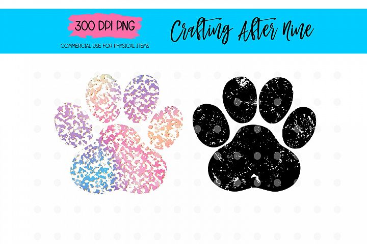 Distressed Paw Print Sublimation Heat Transfer Design Png, R