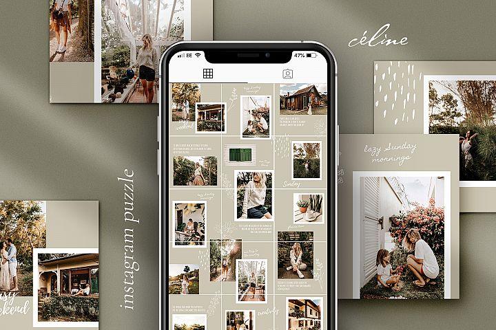 Céline Instagram puzzle template for Canva