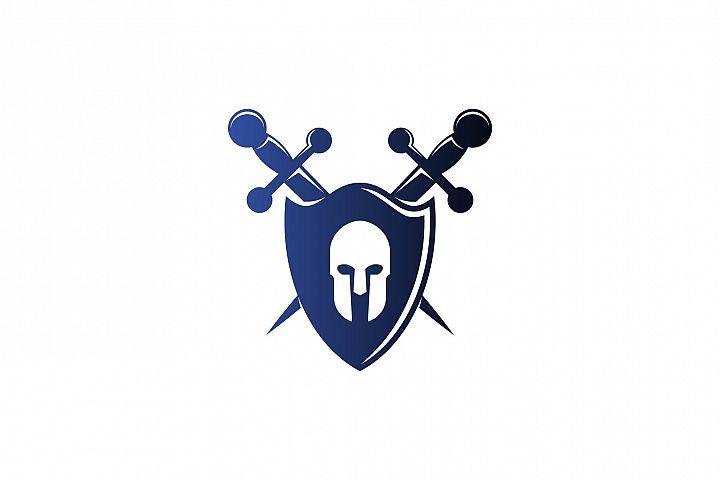 warrior shield and sword protect logo design inspiration