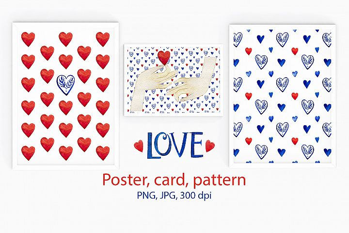Valentines pattern & card & poster. Love