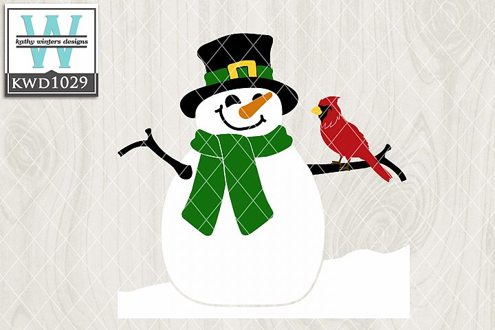 Winter SVG - Snowman and Cardinal