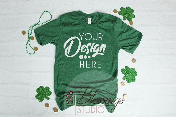 St. Patty Green TShirt Bella Canvas Mockup 3001 Unisex Shirt