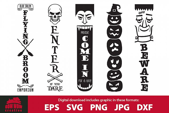 Halloween porch sign bundle #2 - SVG, EPS, JPG, PNG, DXF