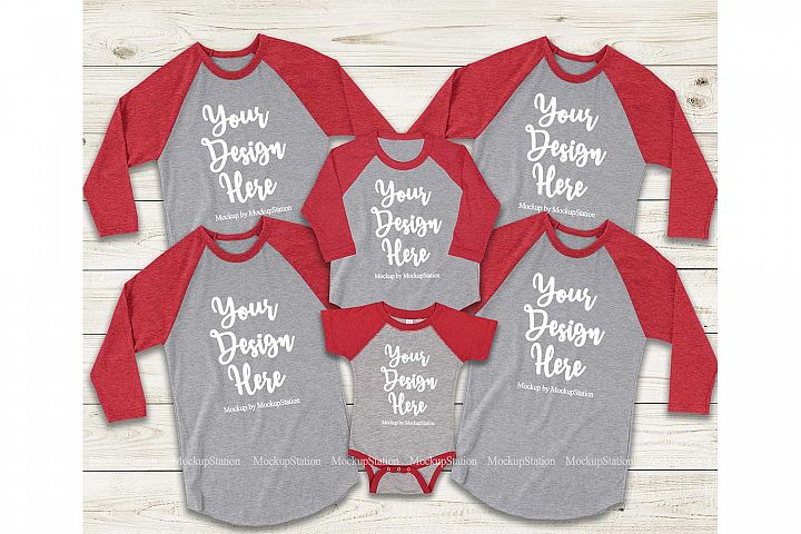 Matching Family Red Gray Raglans Mockup, Adult Baby Toddler