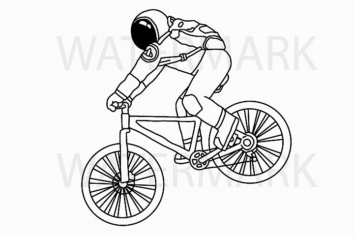 Astronaut on Mountain Bike Riding - with outline version - Color and Outline version - SVG/JPG/PNG Hand Drawing