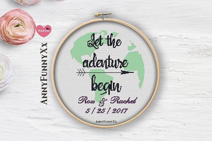Wedding cross stitch pattern Let the adventure begin