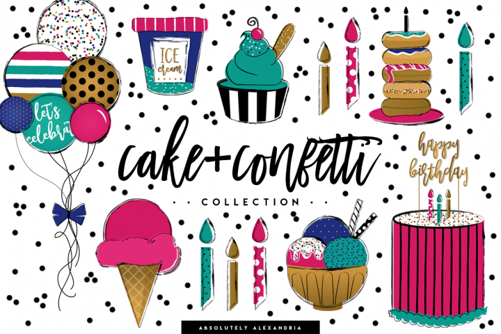 Cake + Confetti Clipart Illustrations & Seamless Digital Paper Patterns Bundle