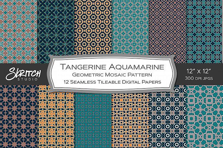 Tangerine Aquamarine Mosaic 12 Tileable Digital Patterns