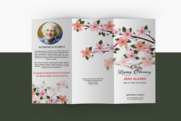 Trifold Funeral Program Template, Ms Word & Photoshop
